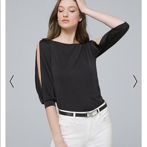 NWT! WHBM Split Sleeve Satin Top in Black